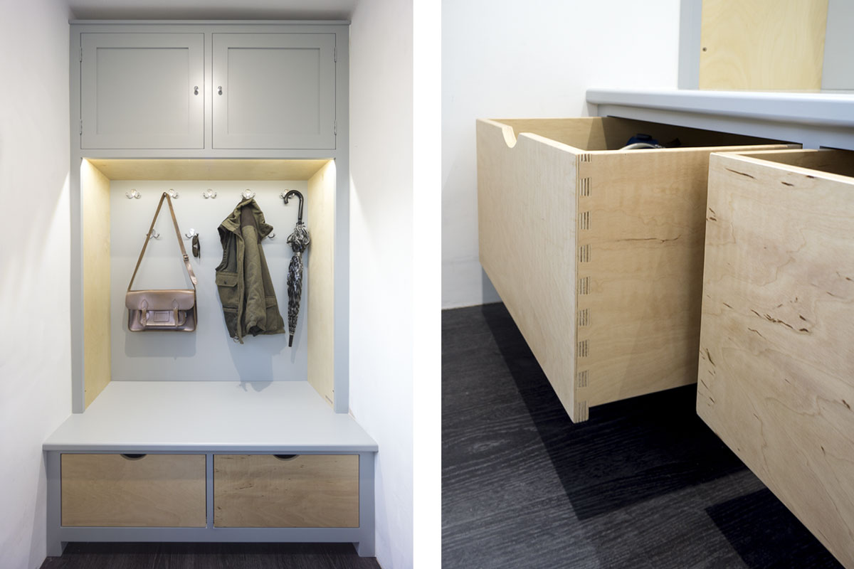 Modern Cloakroom and drawer detail